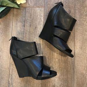 Aldo Black Leather Wedge Heels Open Toe